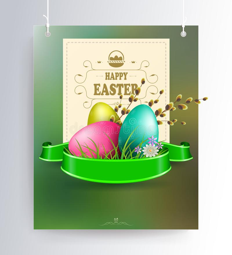 Påsksammansättning av en grön skugga med en kontur av ägg, pilfilialer, ett band och en fyrkantig ram med text på stock illustrationer