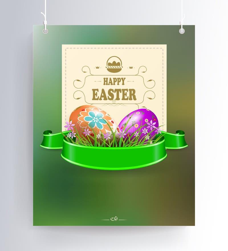 Påsksammansättning av grön färg med konturn av två ägg, grönt gräs och en fyrkantig ram på hängear, stock illustrationer