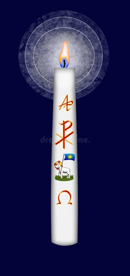 Påskstearinljus med det alfabetisk och omega symbolet för Kristusmonogram och stock illustrationer
