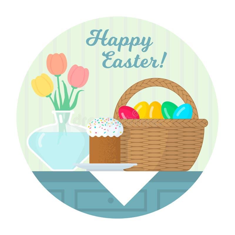 Påskstilleben med kakan på plattan, korg med ägg, vas Plan vektorillustration stock illustrationer
