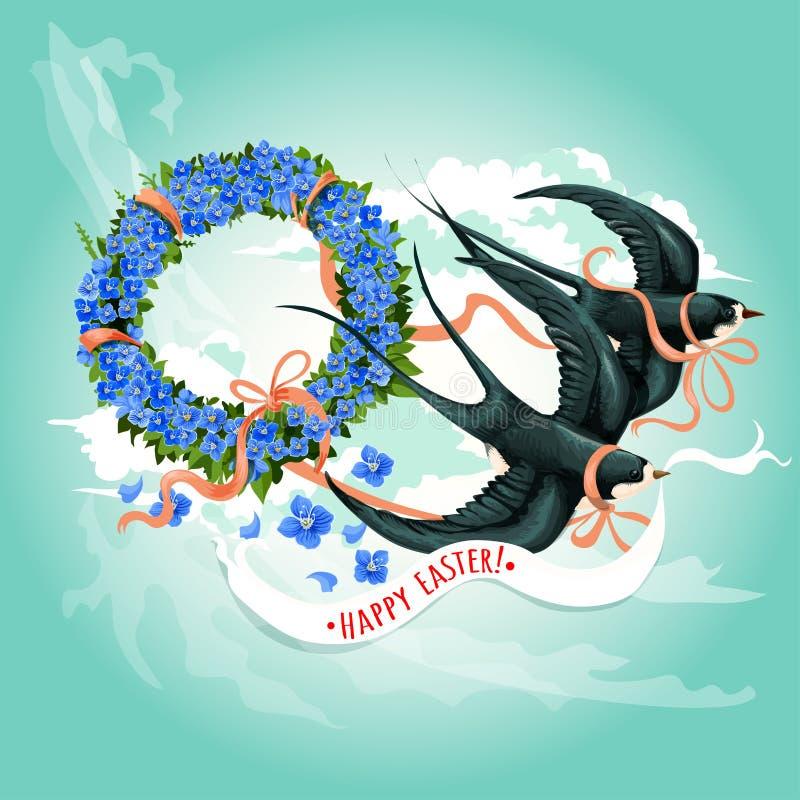 Påsksvalafågel med blom- kranskortdesign vektor illustrationer