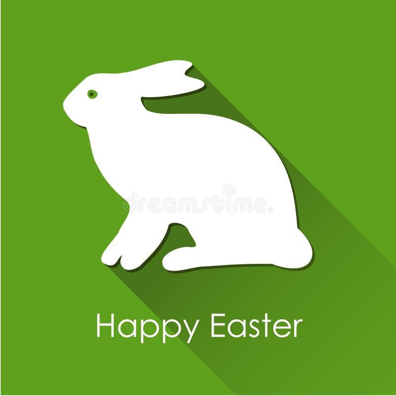 Påskvårkort med vit kanin, haren och lång skugga, stock illustrationer