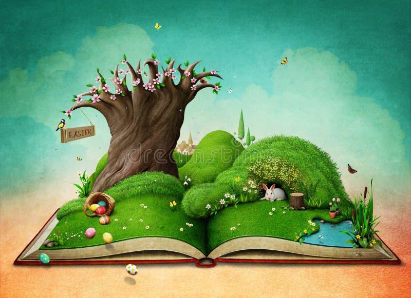 Påskvårlandskap på boken stock illustrationer