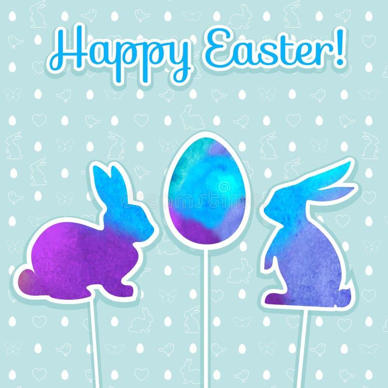 Påskvattenfärgbakgrund och sömlös modell med ägg, kaniner, fåglar, hjärtor, fjäril royaltyfri illustrationer