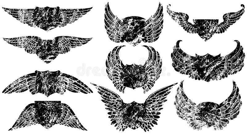 påskyndade grungesköldar vektor illustrationer