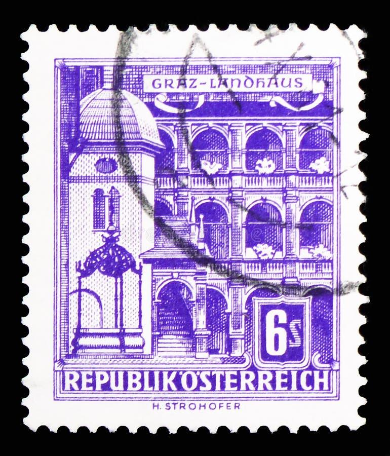Påstå parlamenthuset, Graz, byggnadsserie, circa 1960 royaltyfria bilder