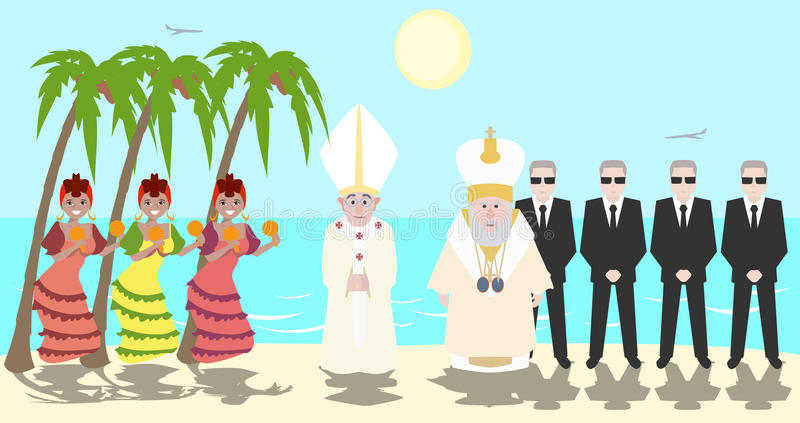 Påve och patriark av Moskvamötet på Kuban royaltyfri illustrationer