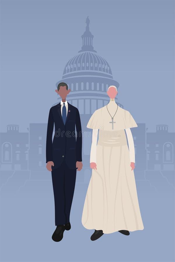 Påve & president vektor illustrationer