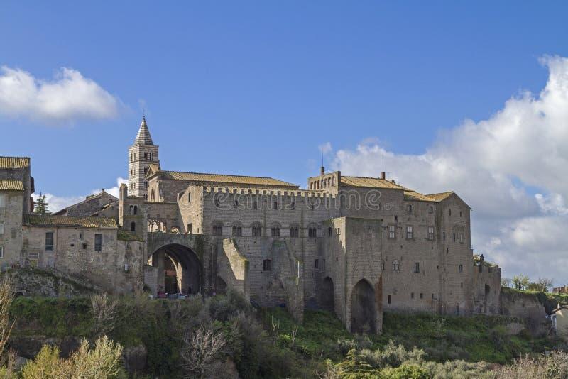 Påvlig slott av Viterbo arkivbild
