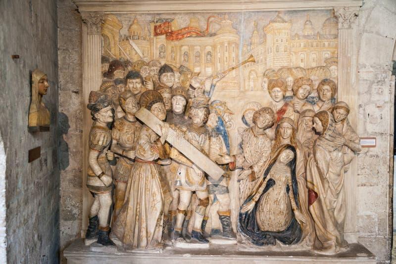 Påvlig slott Avignon Frankrike arkivfoto