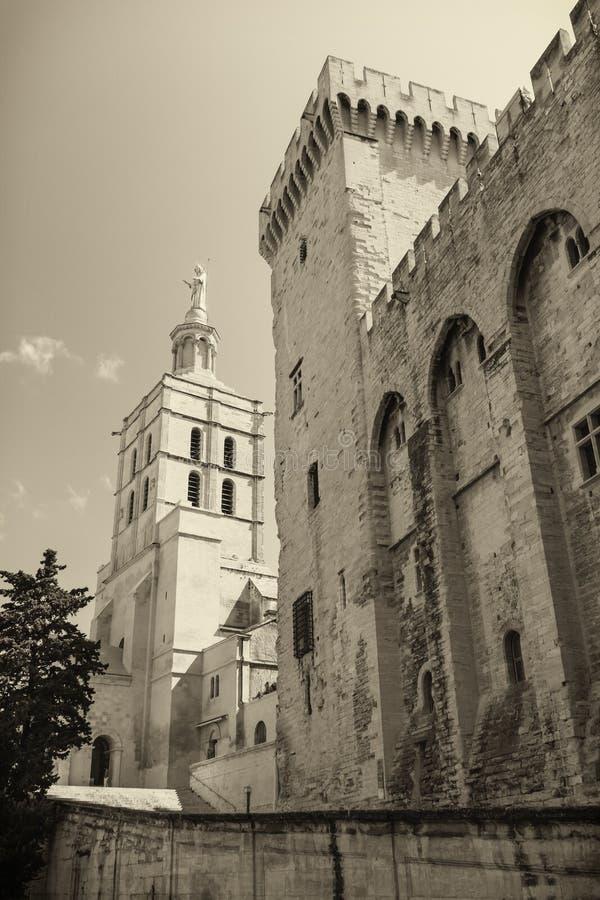 Påvlig slott i Avignon Frankrike royaltyfri bild
