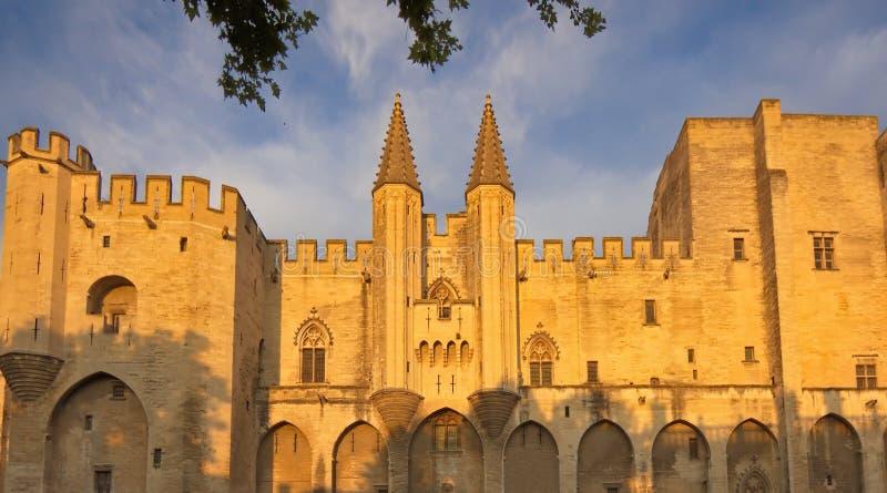Påvlig slott på solnedgången, Avignon, Frankrike royaltyfri fotografi
