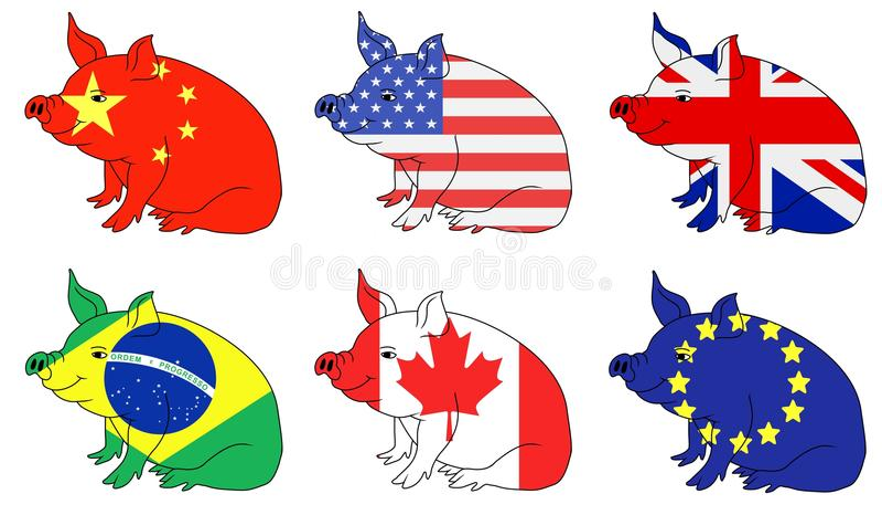 Pæsi produttori della carne di maiale illustrazione vettoriale