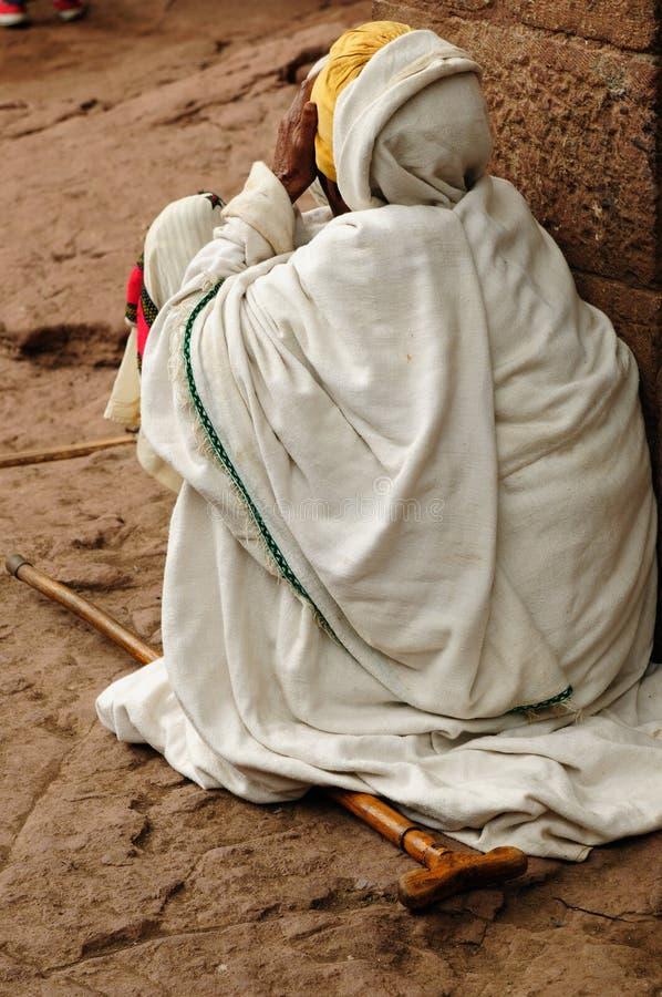 Pèlerin éthiopien dans Lalibela image libre de droits
