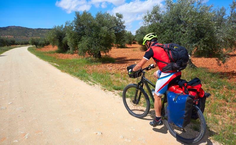 Pèlerin de cycliste en La Mancha de Castille image libre de droits