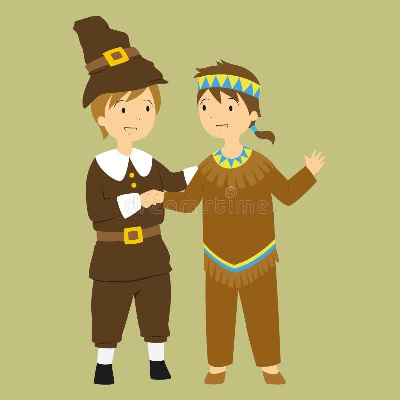 Pèlerin et indigène de thanksgiving illustration libre de droits