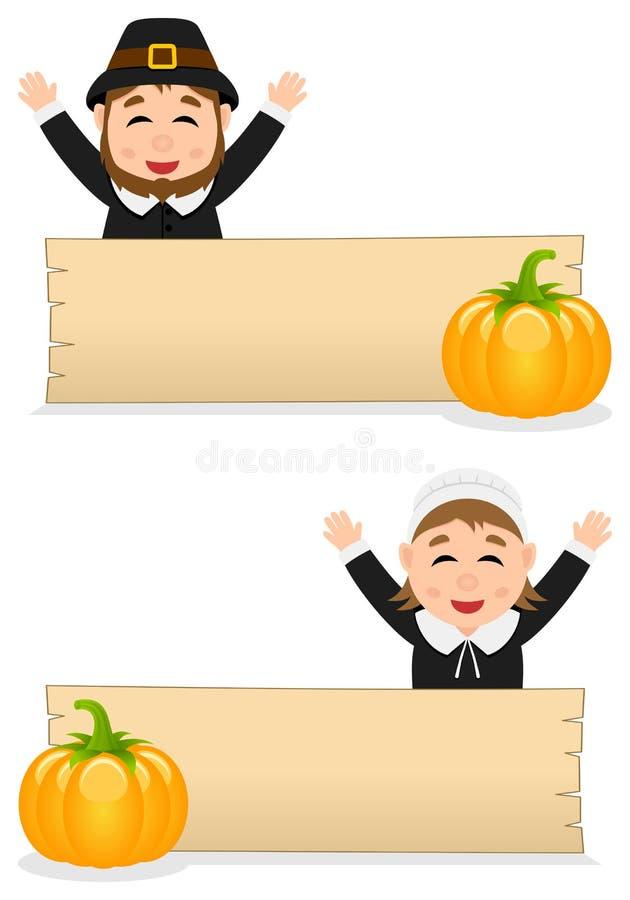 Pèlerins de thanksgiving et bannière en bois illustration de vecteur