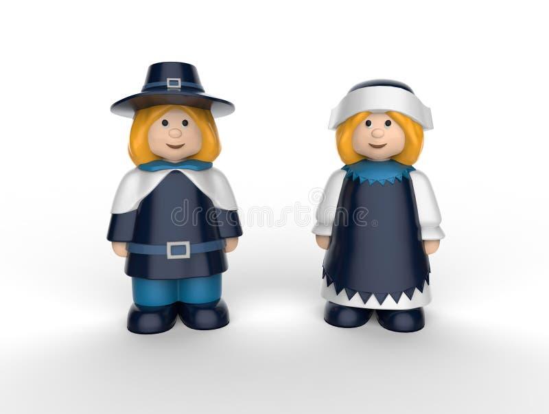 Pèlerins heureux de thanksgiving - chiffres décoratifs de thanksgiving illustration de vecteur