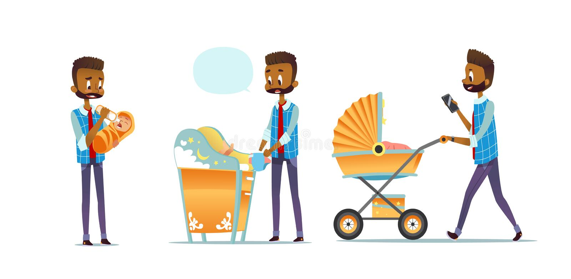 Père afro-américain prenant soin d'enfant d'isolement sur le fond blanc Ensemble de bébé de alimentation de l'homme, couche-culot illustration libre de droits