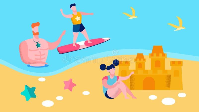 Père aimant, illustration de vacances d'été d'enfants illustration stock