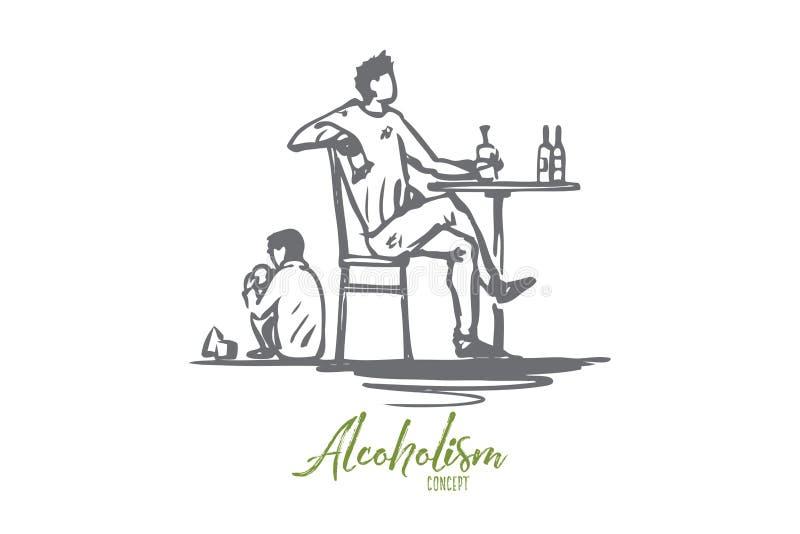 Père, alcool, ivre, enfant, concept d'alcoolisme Vecteur d'isolement tir? par la main illustration stock