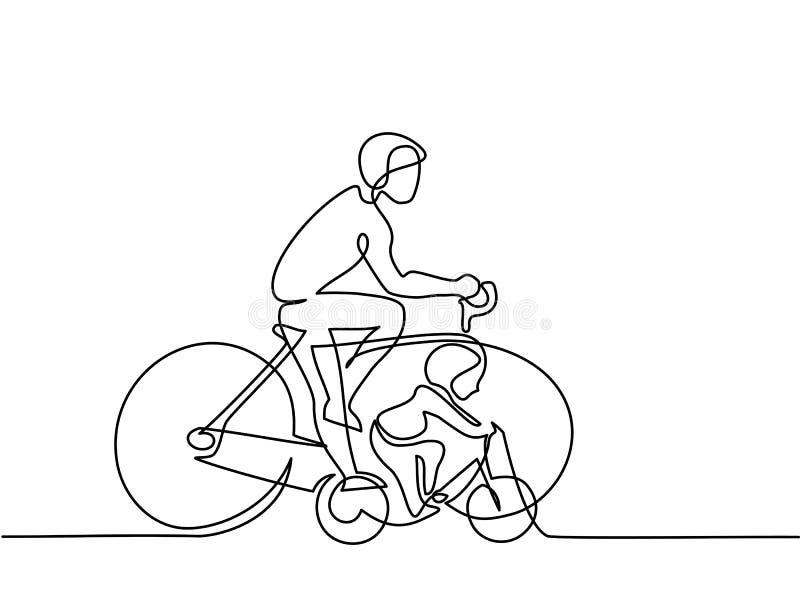 Père avec des bicyclettes d'entraînement de fils illustration stock