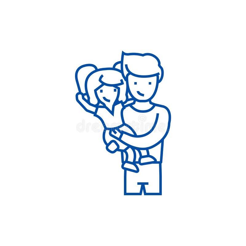 Père avec la fille, papa avec la ligne concept d'enfant d'icône Père avec la fille, papa avec le symbole plat de vecteur d'enfant illustration libre de droits