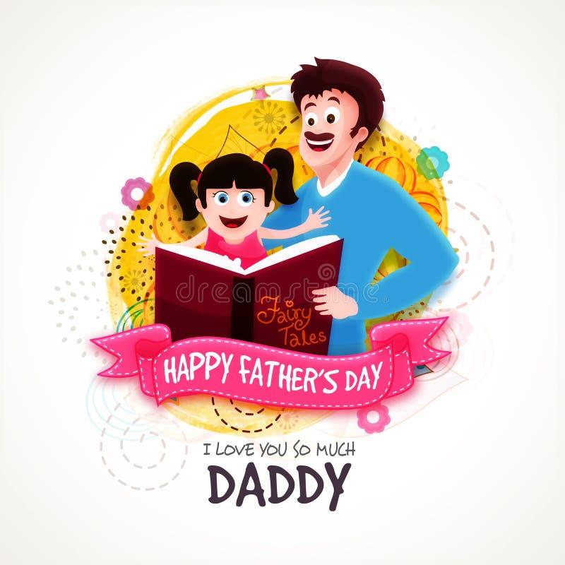 Père avec la fille pour la célébration du jour de père illustration stock