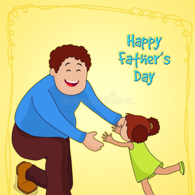 Père avec la fille pour la célébration du jour de père illustration libre de droits