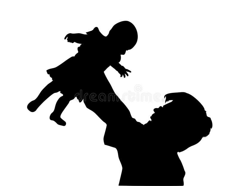 Père avec la silhouette de chéri illustration stock