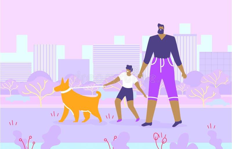 Père barbu et fils marchant avec le chien en parc illustration stock