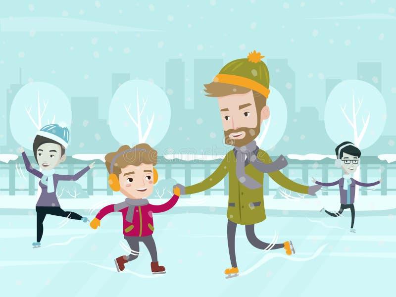 Père caucasien enseignant son patinage de glace de fils illustration stock