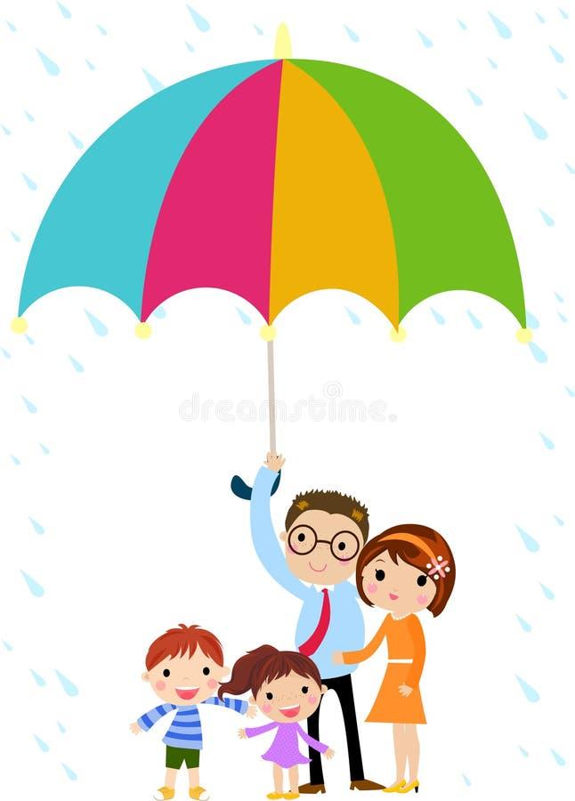 Père de famille avec un grand parapluie illustration stock