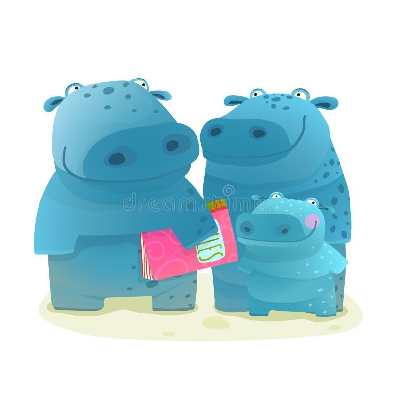 Père et enfant de mère de famille d'hippopotame avec le livre illustration libre de droits