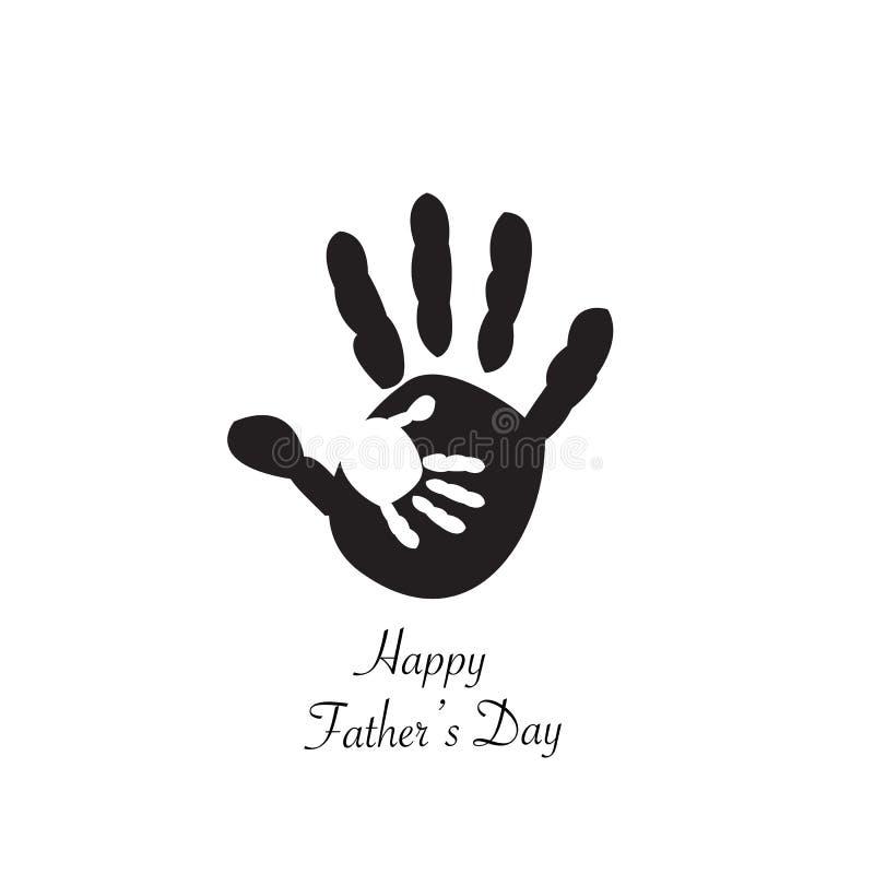 Père et enfant disponibles Copies de main de bébé de bébé Carte de voeux heureuse de jour du ` s de père illustration libre de droits