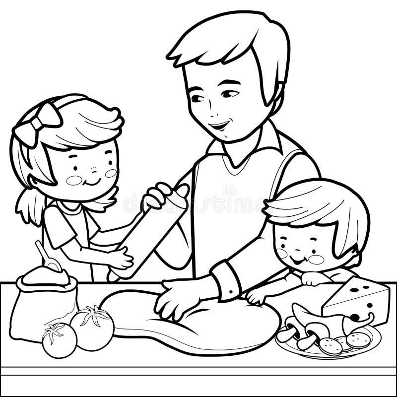 Père et enfants faisant cuire la pizza dans la cuisine Page de coloration illustration de vecteur