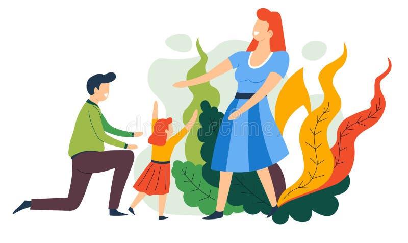 Père et fille de mère de passe-temps de famille jouant et étreignant illustration de vecteur