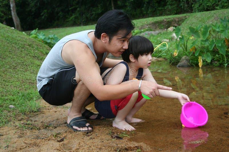 Père et fils à la rivière image stock