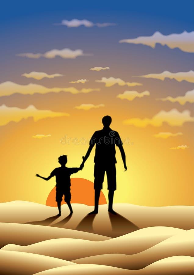 Père et fils au coucher du soleil illustration de vecteur