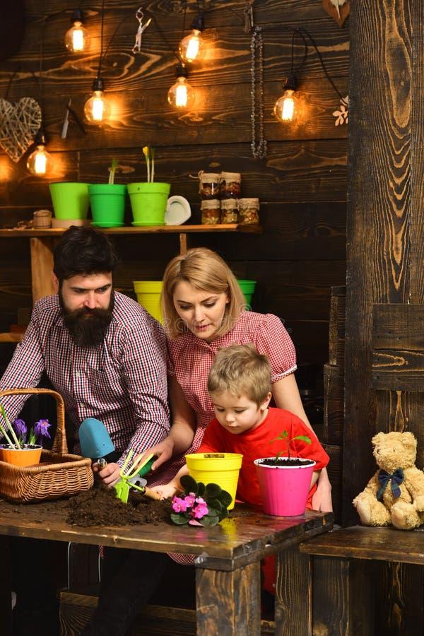 père et fils avec la mère Arrosage de soin de fleur Engrais de sol nature d'amour d'enfant de femme, d'homme et de petit garçon h photographie stock libre de droits