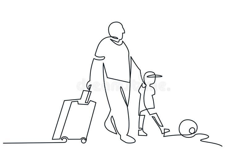Père et fils avec ligne continue dessin de bagage l'une de vecteur illustration de vecteur
