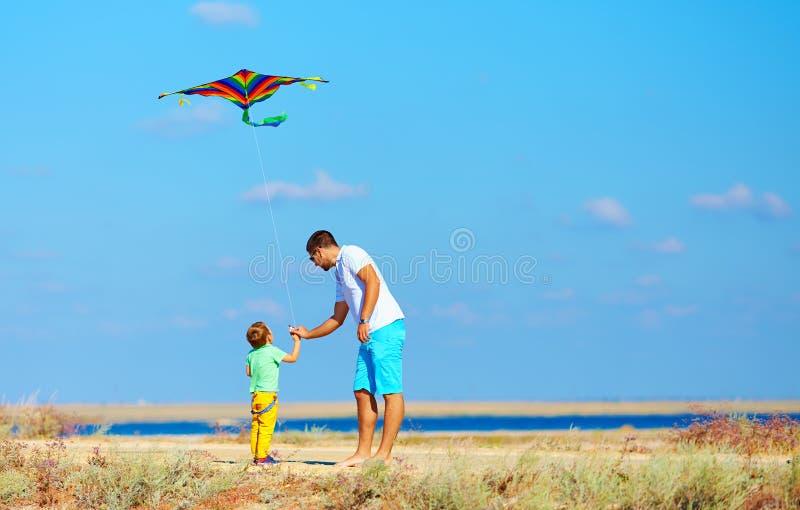Père et fils ayant l'amusement, jouant avec le cerf-volant ensemble photo libre de droits