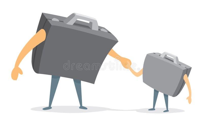 Père et fils d'affaires de valise tenant des mains illustration de vecteur