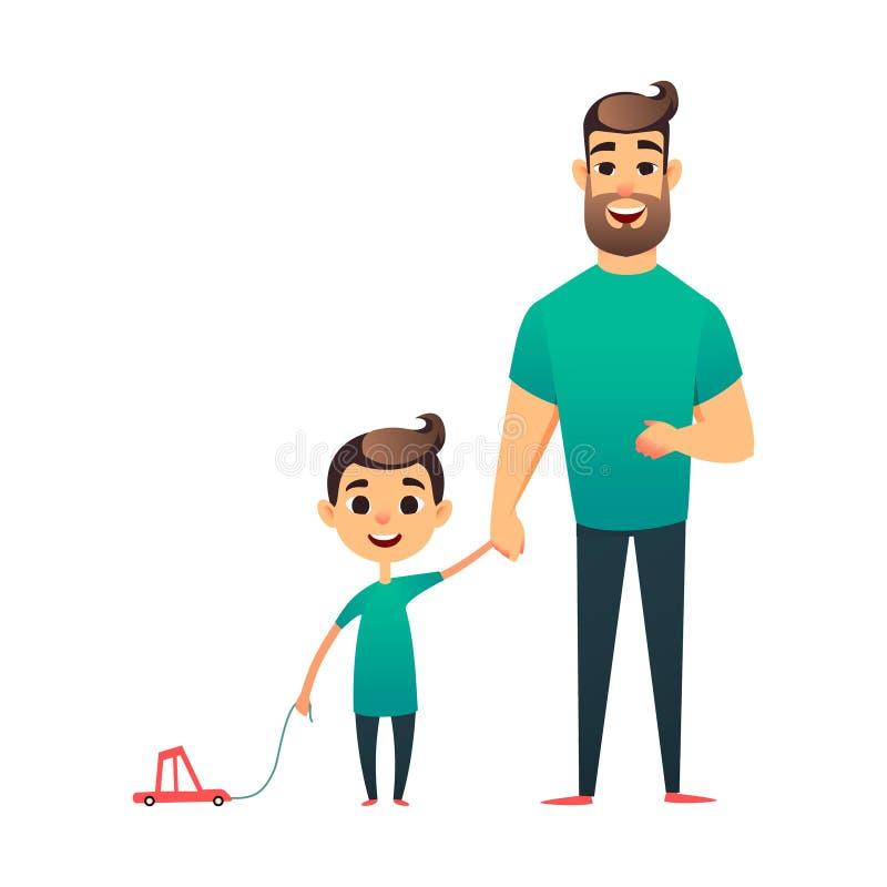 Père et fils de vecteur de bande dessinée Homme et garçon Famille heureux Carte de voeux heureuse de jour du père s illustration stock