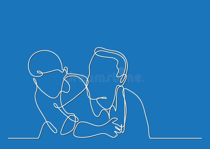 Père et fils - dessin au trait continu illustration de vecteur
