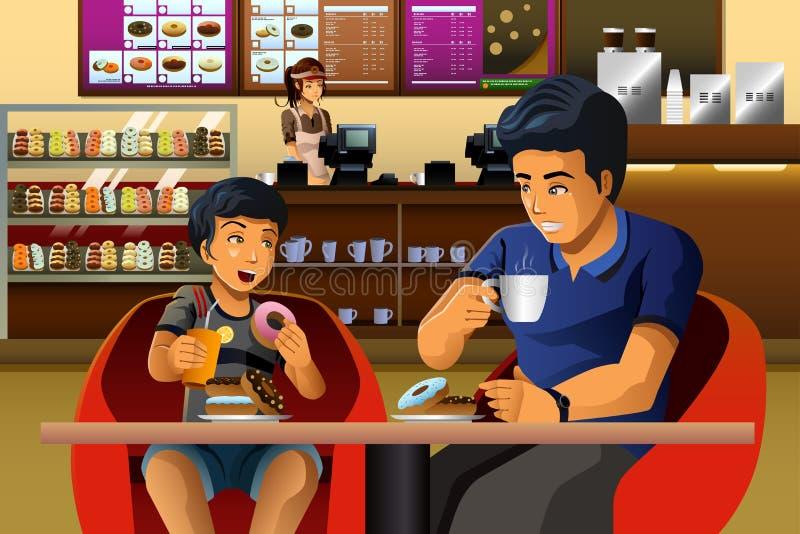 Père et fils mangeant le petit déjeuner illustration de vecteur