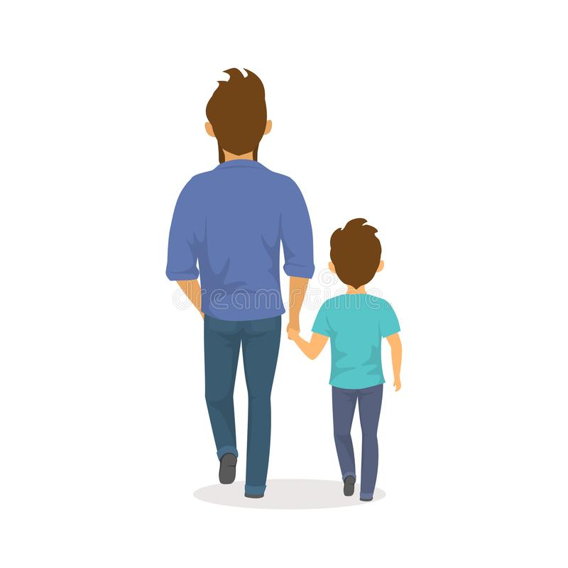 Père et fils marchant ensemble tenant des mains, vue heureuse de postérieur de jour de pères illustration stock
