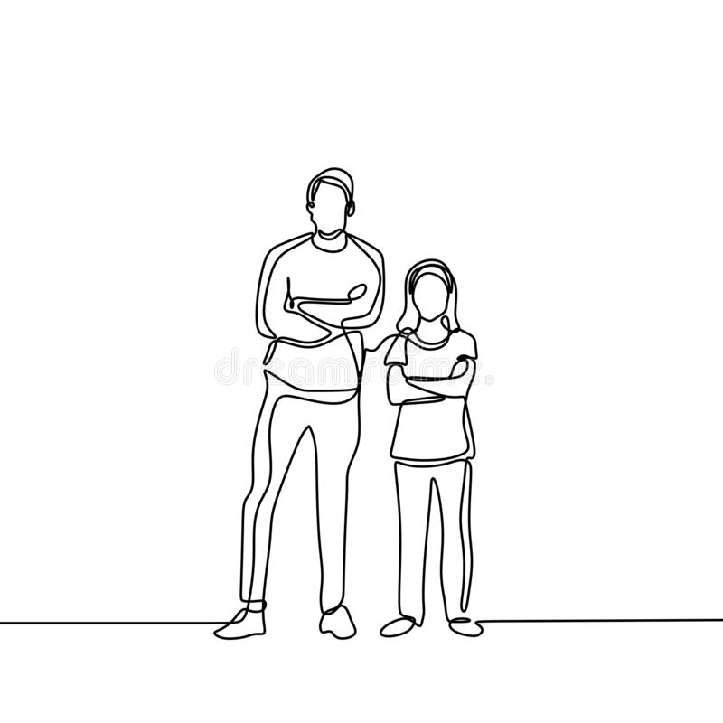 P?re et son ligne dessin continu de la fille une illustration de vecteur
