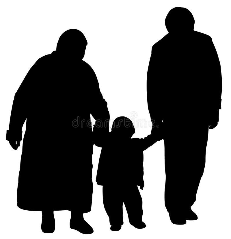 Père grand et grand-mère marchant avec le bébé illustration de vecteur