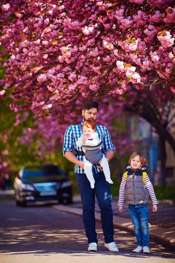 Père heureux avec des enfants sur la ville de promenade au printemps, transporteur de bébé, congé paternel photo stock